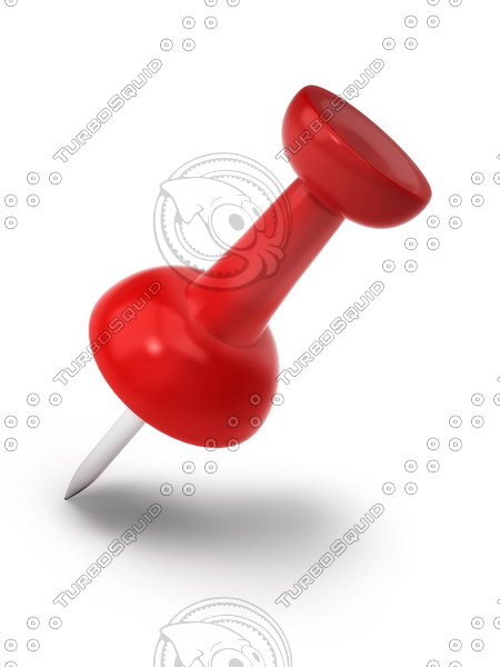 red push pin 3d obj