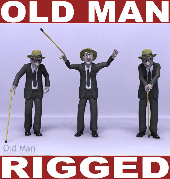 3d old man rigging model