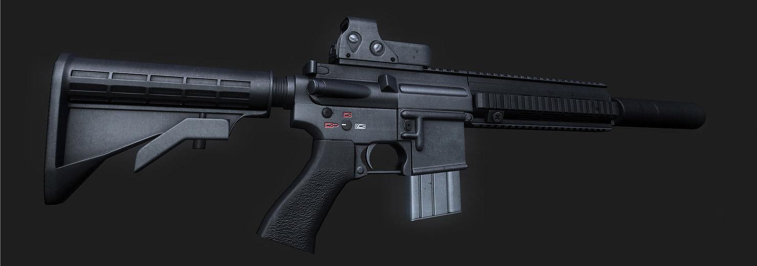 3d model of hk-416 assault rifle