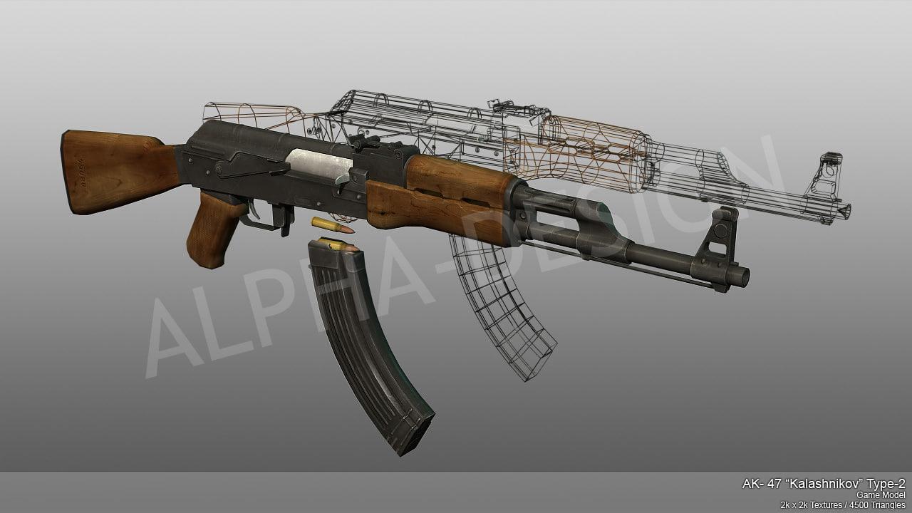 modelled ak47 3d 3ds