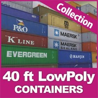 40 ft Low Poly containers