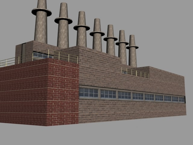 3d model large industrial factory