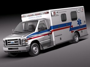 e-series e-450 ambulance vehicle 3d model