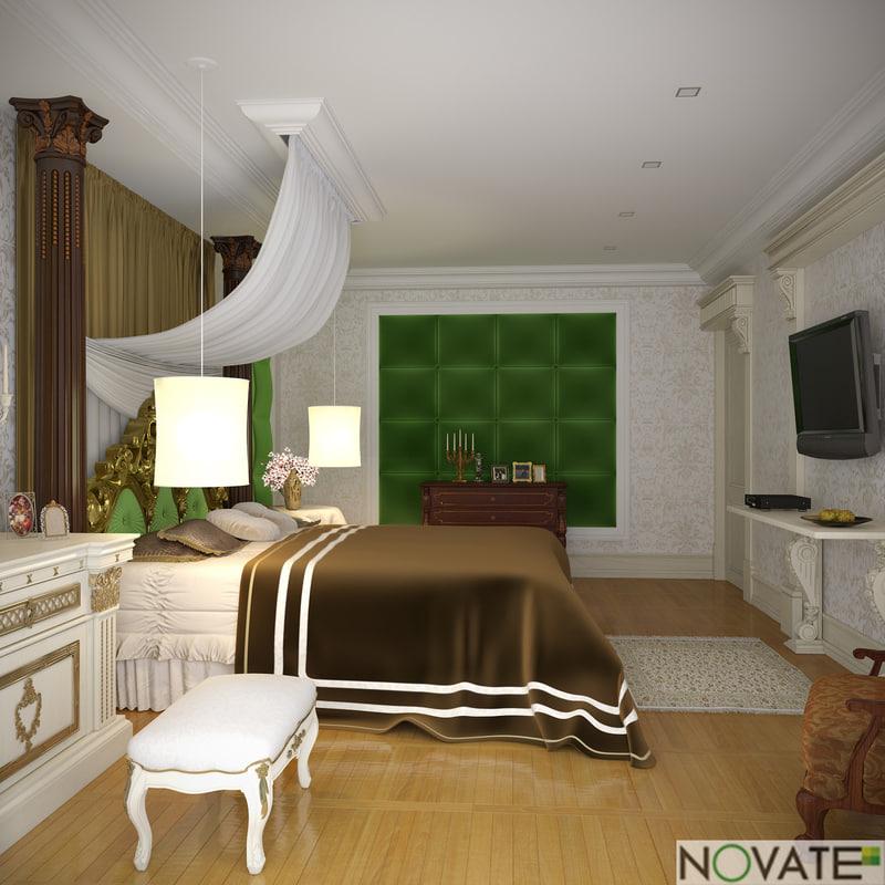 rendering classic bedroom 3d 3ds