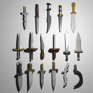 3ds max set medieval daggers