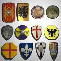 3d model medieval shields