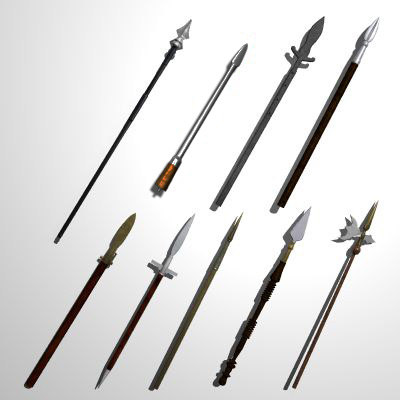 set medieval spears pole 3d model