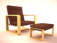 modern ottoman chair 3d max