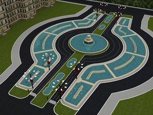 romania city square 3d model