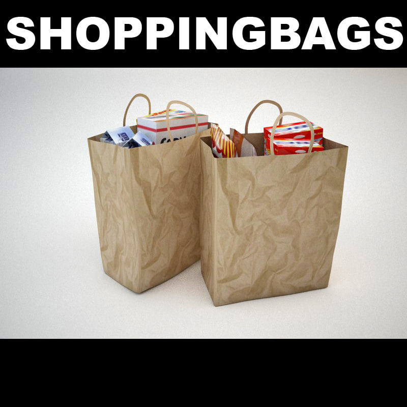 3d 3ds paper shopping bags