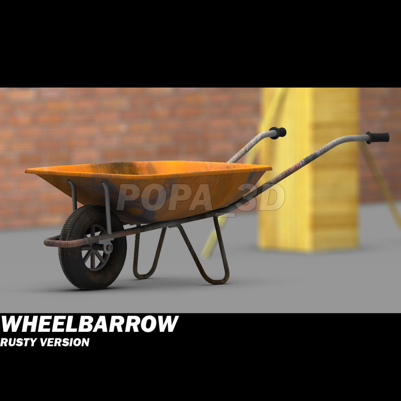 3d wheelbarrow barrow wheel model