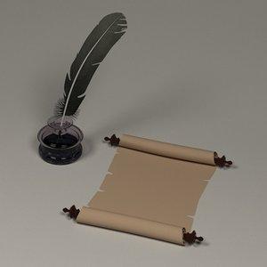 inkpot quill paper 3d model