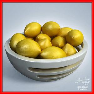 3d lemons bowl design -
