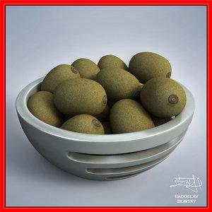 3d kiwis bowl design -