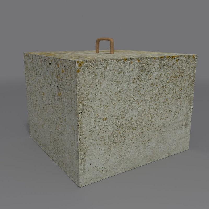 3d model of concrete block coz080914031