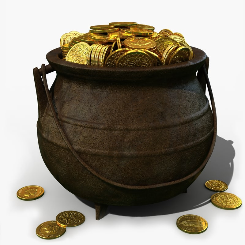 pot gold coin 3d c4d