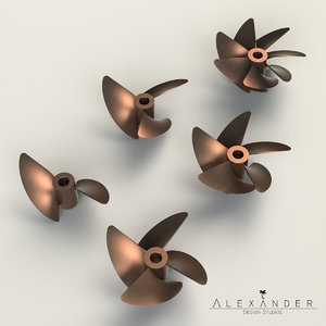 3d set propellers boats