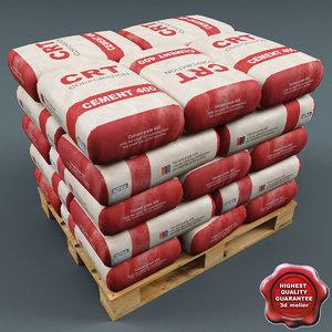 3d pallet cement bags model