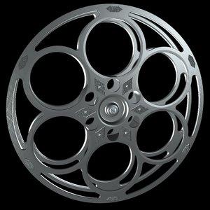 3d model classic film reel movie