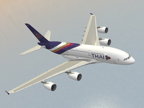 airbus a380-800 thai airways 3d 3ds