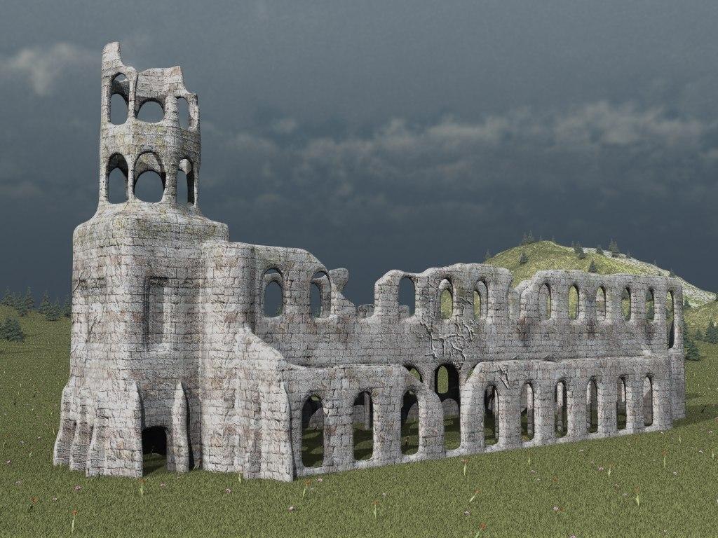 ruined cistercian abbey 3d fbx