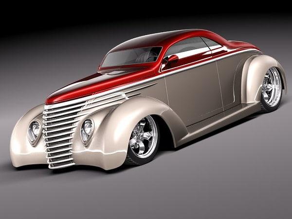 3d model 1937 coupe antique streetrod