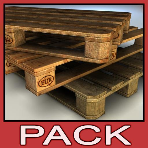 wood pallet pack 3d max