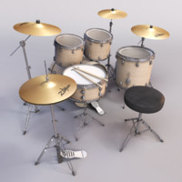 drum drumset set 3d 3ds