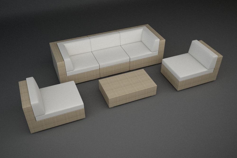 rattan lounge furniture set 3d model