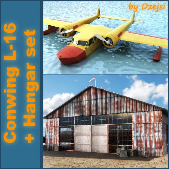 3d old hangar conwing l-16 model