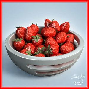 3d strawberries bowl design -