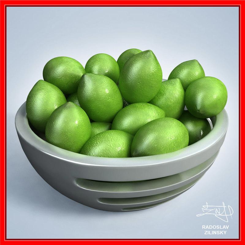 limes bowl design - 3d 3ds