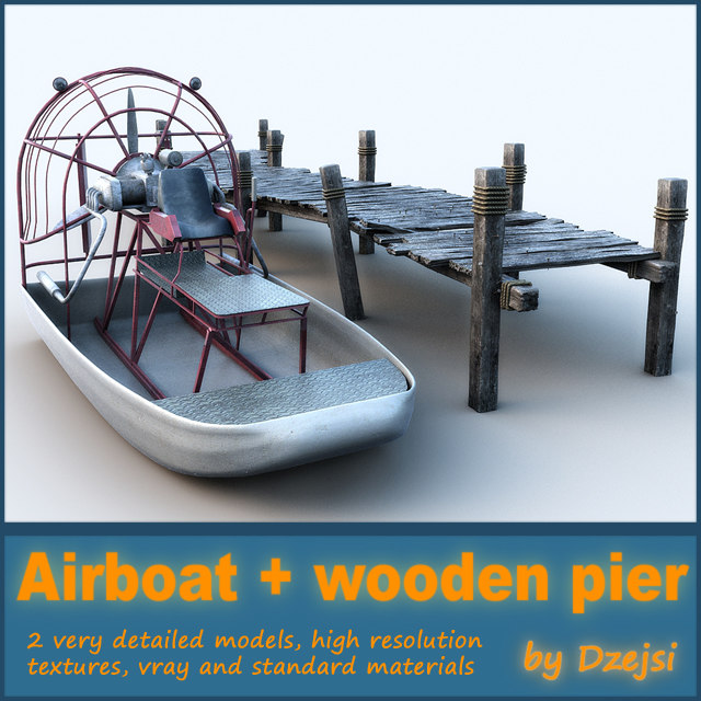 3d swamp airboat wooden pier model