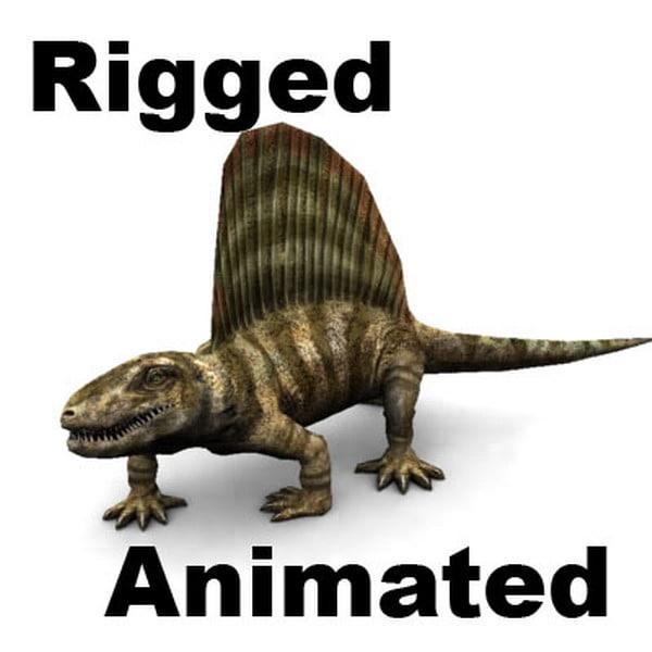 3d model dimetrodon animation
