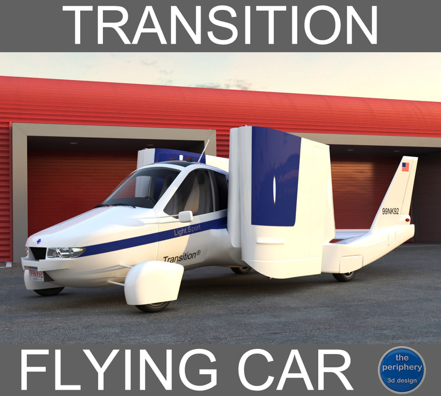3d flying car transition aircraft model