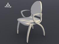 Dublin 4-leg chair con braccioli. Seduta e schienale imbottiti