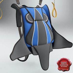 backpack parachute 3d model