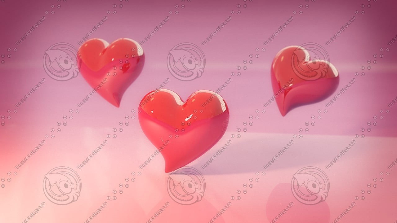 3d valentine hearts model