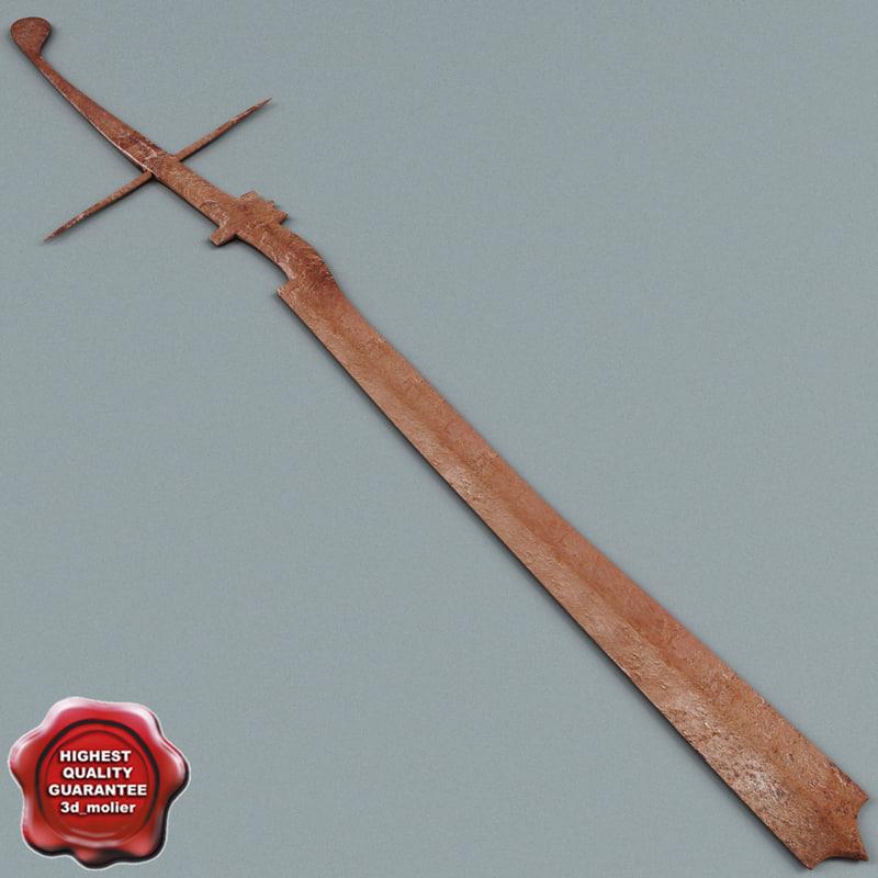 3d model old rusty sword