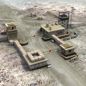 3d border checkpoint post model