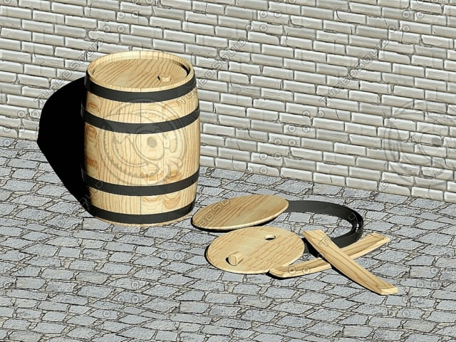 3d wooden wine barrel 25 model