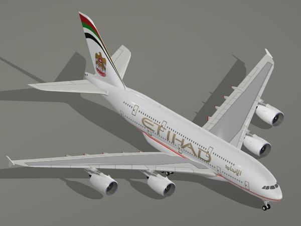 airbus a380-800 etihad airways 3d model