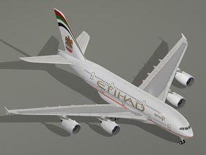 airbus a380-800 etihad airways 3d model