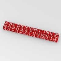 3d model boxes alphabet letters