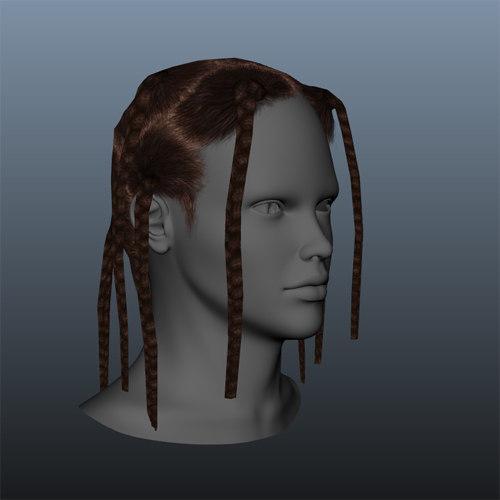 braided female hair style 3d ma