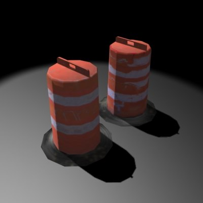construction barrels 3d max