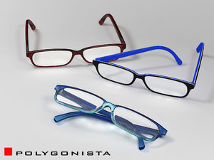 3d model eyeglasses 3 materials