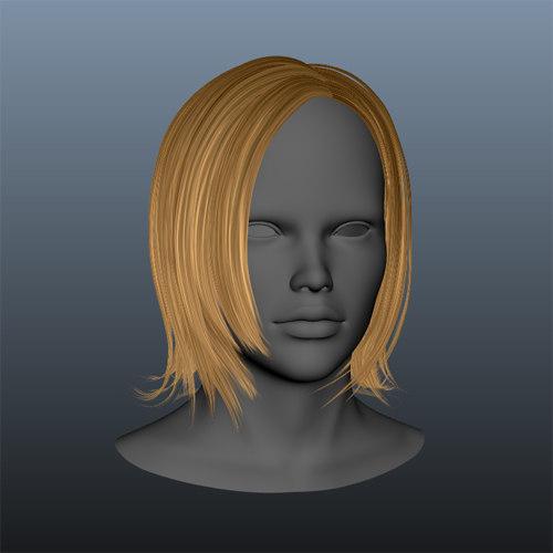 3d model gold female hair style