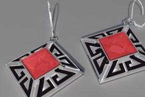 diamond shaped earrings 3d model