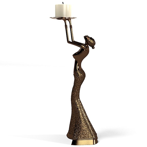 Statue Home Decor Woman Candlestick Resin Sculpture Gallay Modern Contemporary Asian Oriental African Art